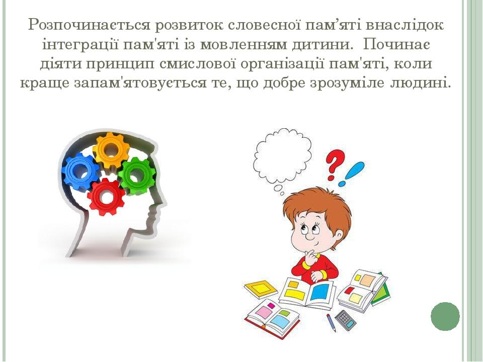 Розпочинається розвиток словесної пам'яті внаслідок інтеграції пам'яті із мовленням дитини. Починає діяти принцип смислової організації пам'яті, ко...