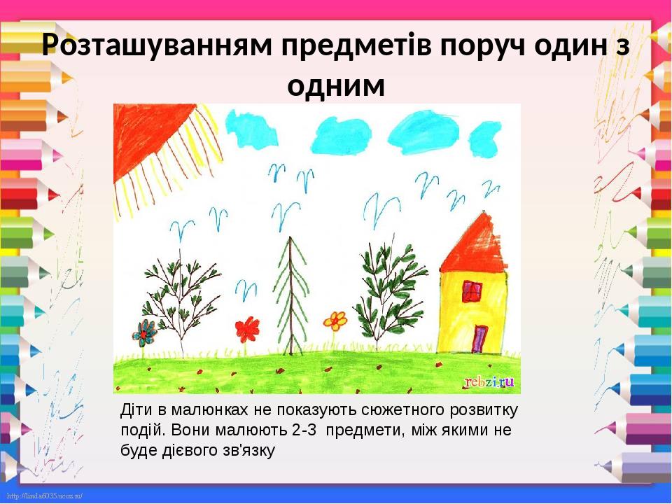 Розташуванням предметів поруч один з одним Діти в малюнках не показують сюжетного розвитку подій. Вони малюють 2-3 предмети, між якими не буде дієв...