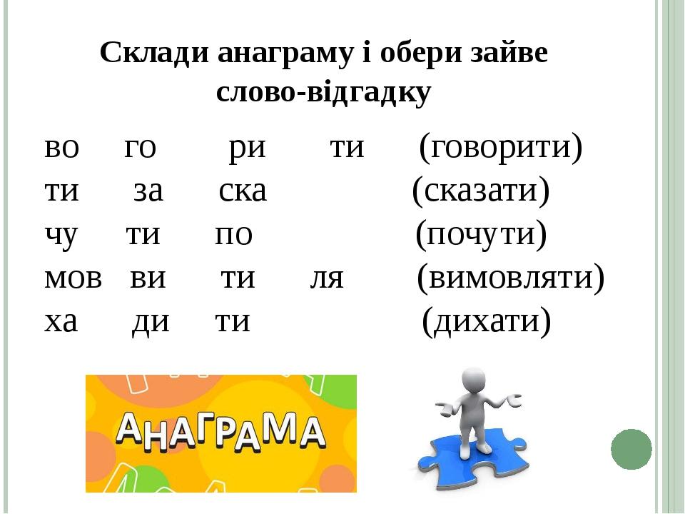 Склади анаграму і обери зайве слово-відгадку вогорити(говорити) тизаска (сказати) чути...