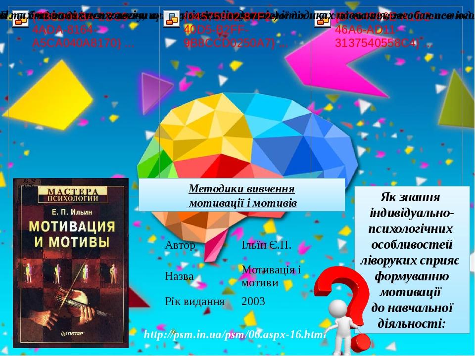 Методики вивчення мотивації і мотивів http://psm.in.ua/psm/06.aspx-16.html Як знання індивідуально-психологічних особливостей ліворуких сприяє форм...