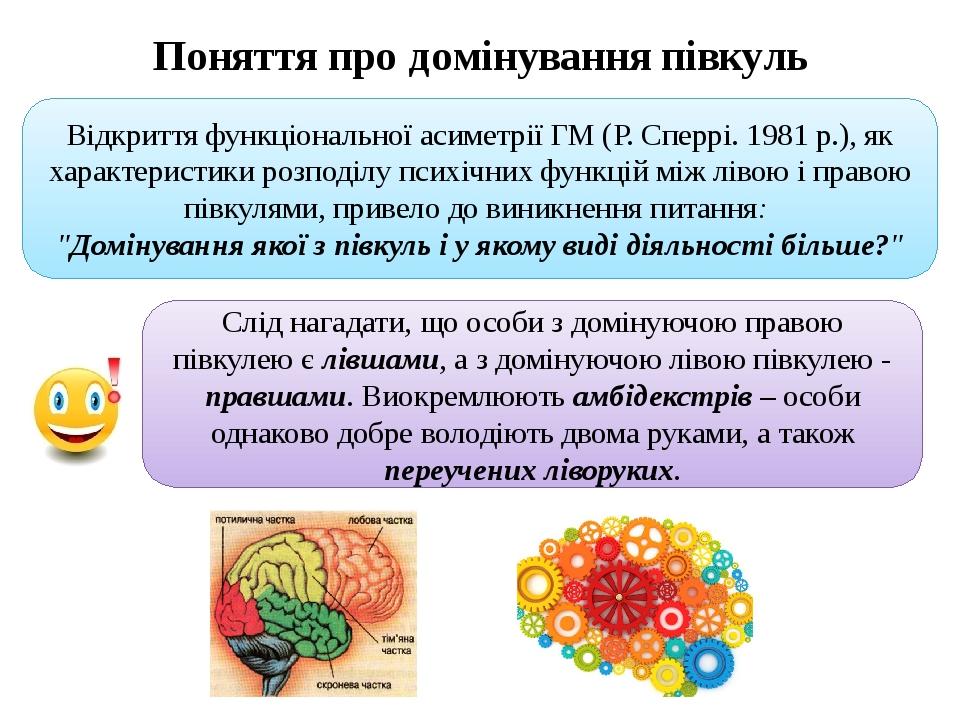 Поняття про домінування півкуль Відкриття функціональної асиметрії ГМ (Р. Сперрі. 1981 р.), як характеристики розподілу психічних функцій між лівою...