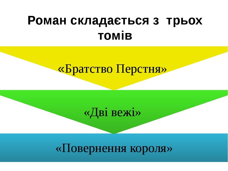 Роман складається з трьох томів «Повернення короля» «Дві вежі» «Братство Перстня»