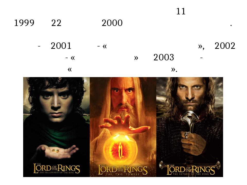 Знімальний процес проходив з 11 жовтня 1999 по 22 грудня 2000 року в Новій Зеландії. Фільми трилогії виходили впродовж трьох років - в 2001 році - ...