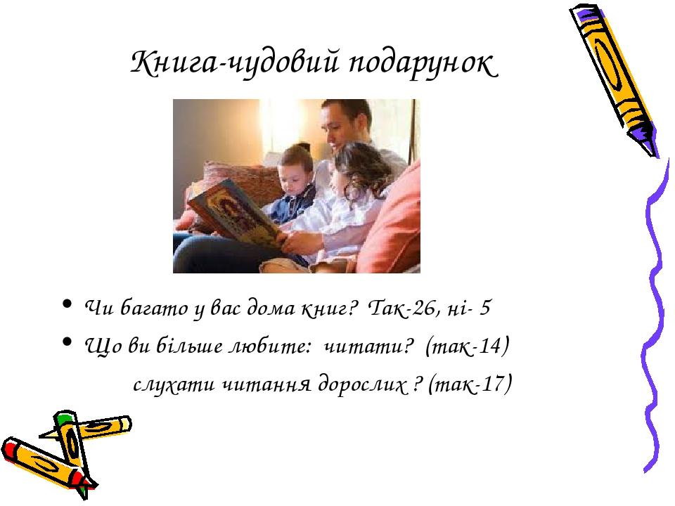 Книга-чудовий подарунок Чи багато у вас дома книг? Так-26, ні- 5 Що ви більше любите: читати? (так-14) слухати читання дорослих ? (так-17)