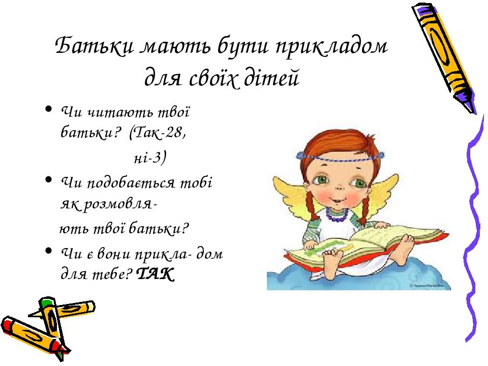 Батьки мають бути прикладом для своїх дітей Чи читають твої батьки? (Так-28, ні-3) Чи подобається тобі як розмовля- ють твої батьки? Чи є вони прик...