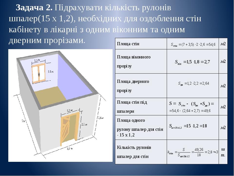 Задача 2. Підрахувати кількість рулонів шпалер(15 х 1,2), необхідних для оздоблення стін кабінету в лікарні з одним віконним та одним дверним прорі...