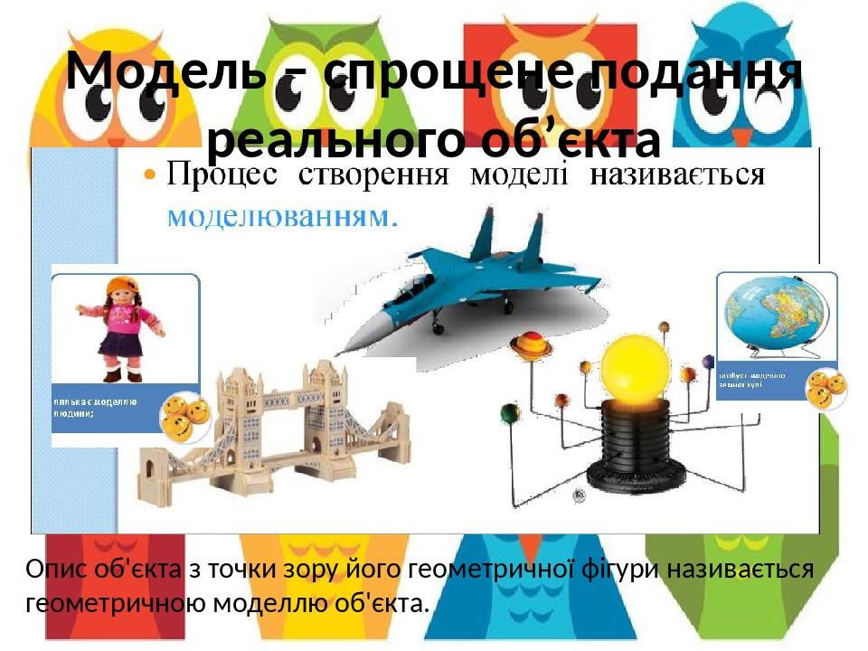 Модель – спрощене подання реального об'єкта Опис об'єкта з точки зору його геометричної фігури називається геометричною моделлю об'єкта. Кишеня 4. ...