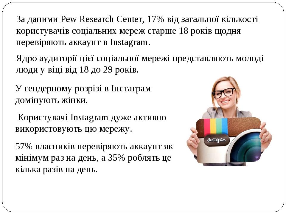 За даними Pew Research Center, 17% від загальної кількості користувачів соціальних мереж старше 18 років щодня перевіряють аккаунт в Instagram. Яд...