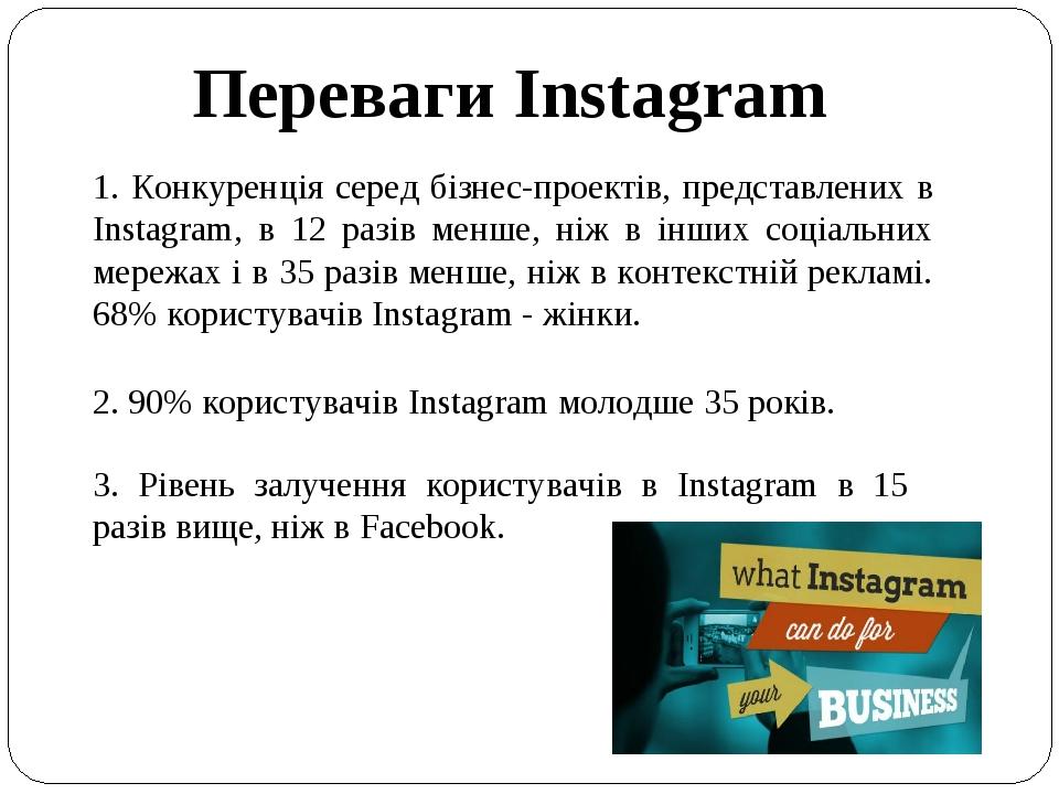 Переваги Instagram 1. Конкуренція серед бізнес-проектів, представлених в Instagram, в 12 разів менше, ніж в інших соціальних мережах і в 35 разів м...