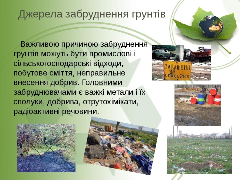 Важливою причиною забруднення грунтів можуть бути промислові і сільськогосподарські відходи, побутове сміття, неправильне внесення добрив. Головним...