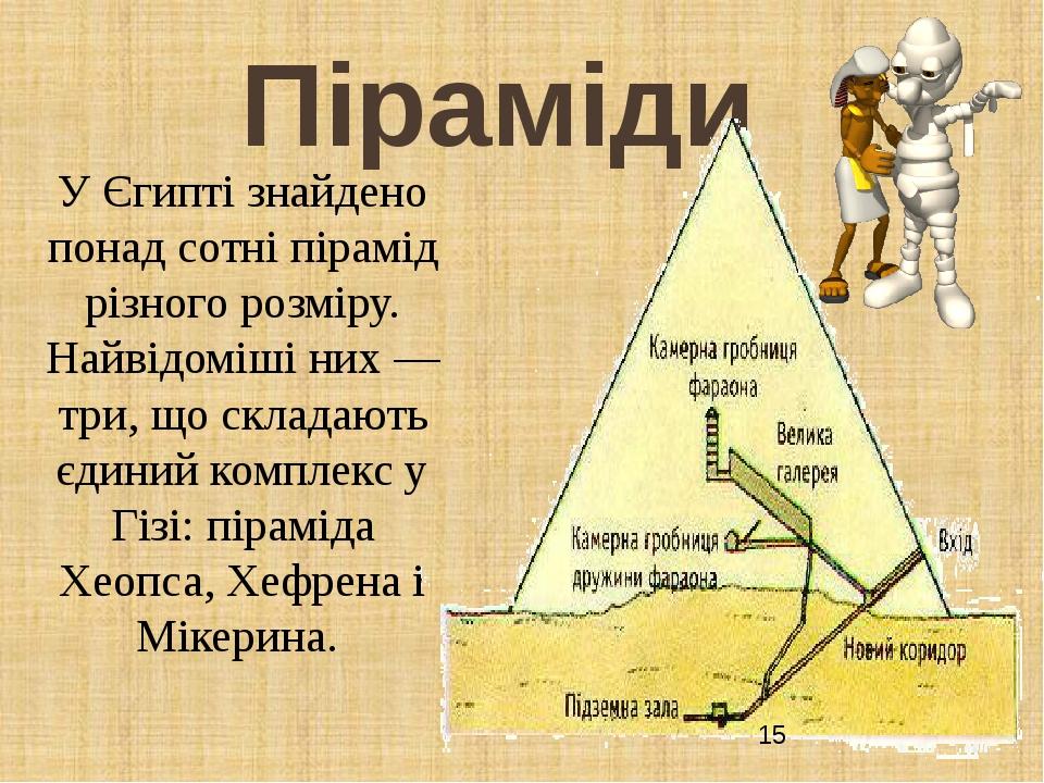 Піраміди У Єгипті знайдено понад сотні пірамід різного розміру. Найвідоміші них — три, що складають єдиний комплекс у Гізі: піраміда Хеопса, Хефрен...