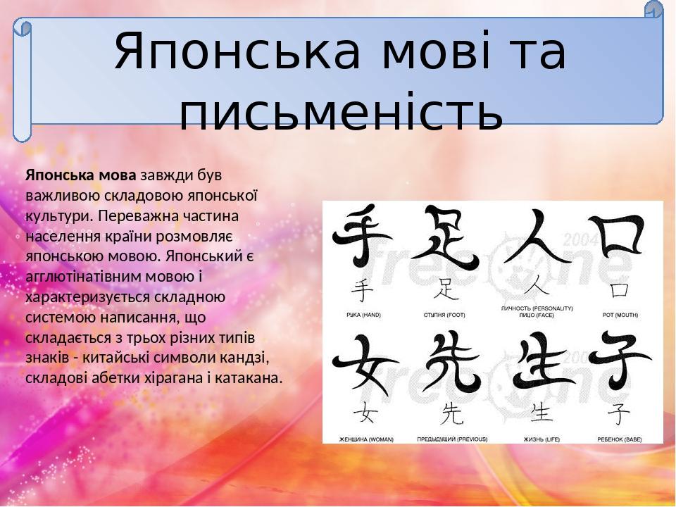 Японська мові та письменість Японська мова завжди був важливою складовою японської культури. Переважна частина населення країни розмовляє японською...