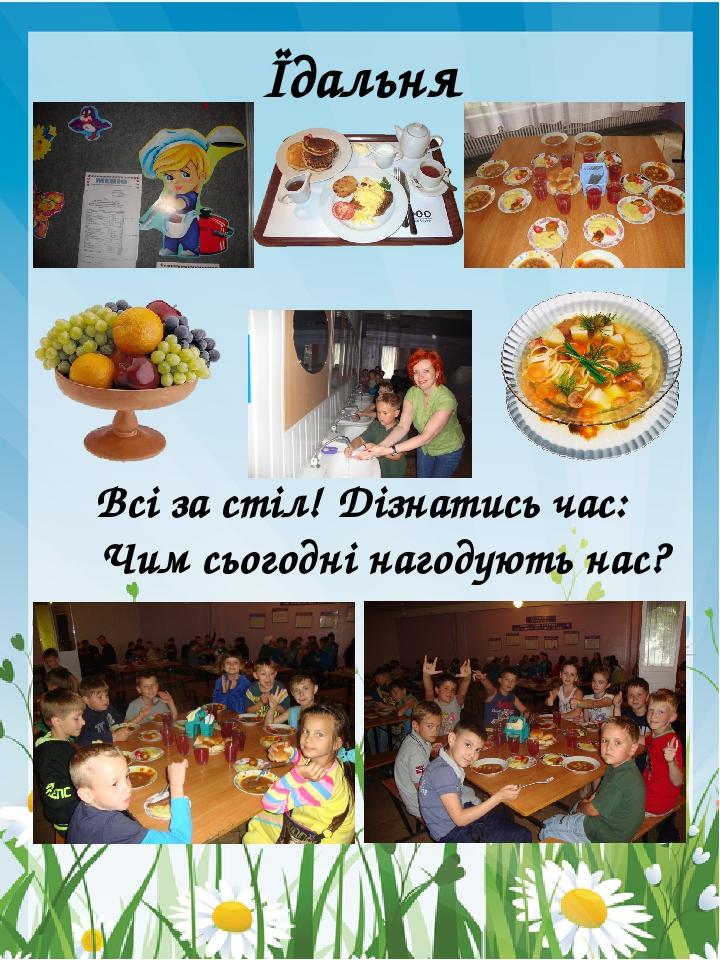 Їдальня Всі за стіл! Дізнатись час: Чим сьогодні нагодують нас?