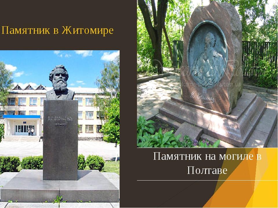 Памятник в Житомире Памятник на могилев Полтаве