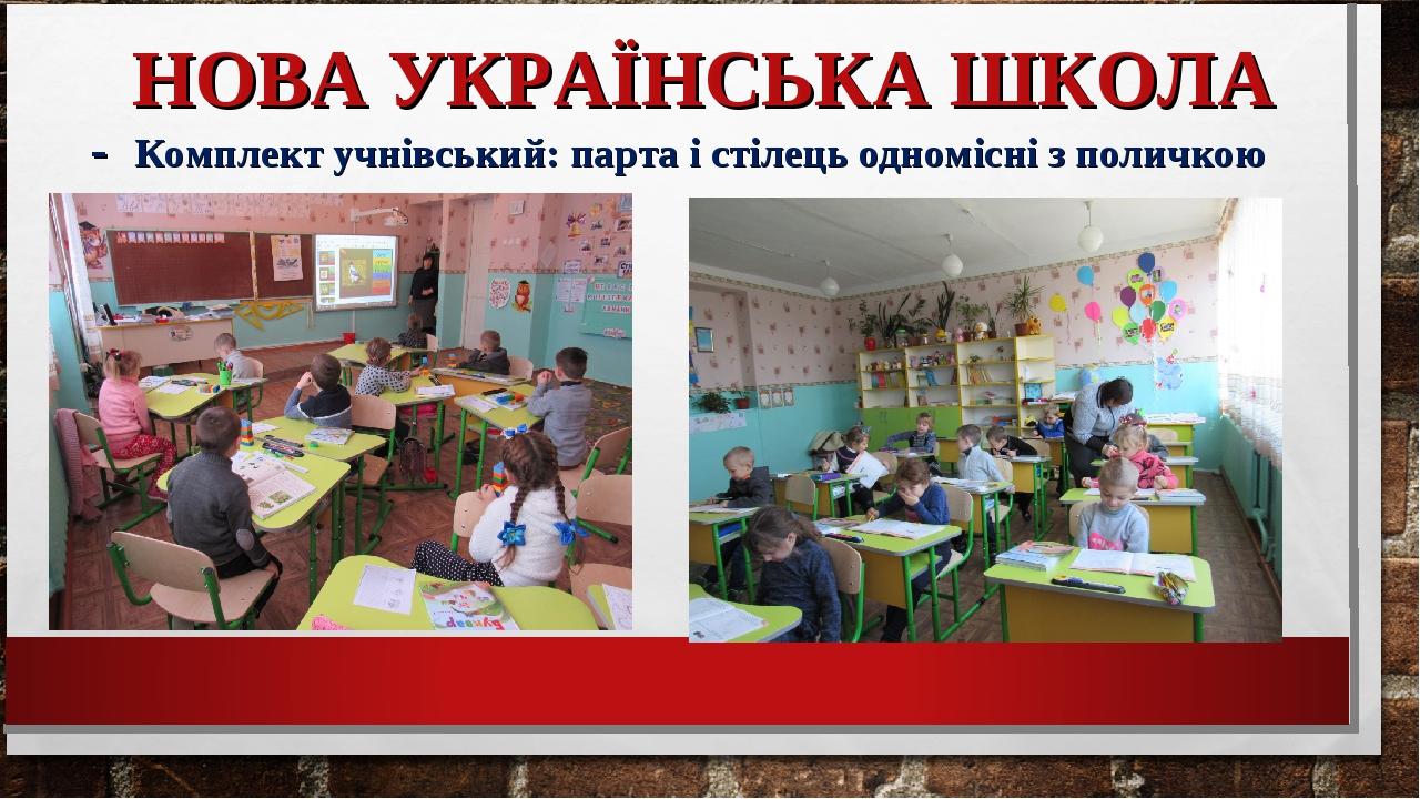 НОВА УКРАЇНСЬКА ШКОЛА - Комплект учнівський: парта і стілець одномісні з поличкою