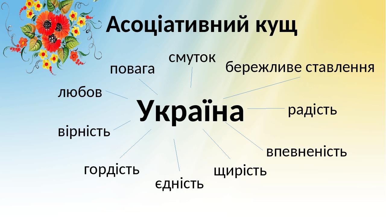 Асоціативний кущ Україна бережливе ставлення смуток повага радість впевненість щирість єдність гордість вірність любов