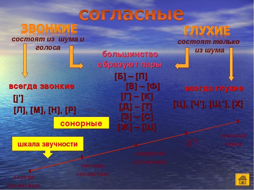 большинство образуют пары всегда звонкие всегда глухие [Б] – [П] [В] – [Ф] [Г] – [К] [Д] – [Т] [З] – [С] [Ж] – [Ш] [Ц], [Ч'], [Щ'], [Х] [j'] состоя...