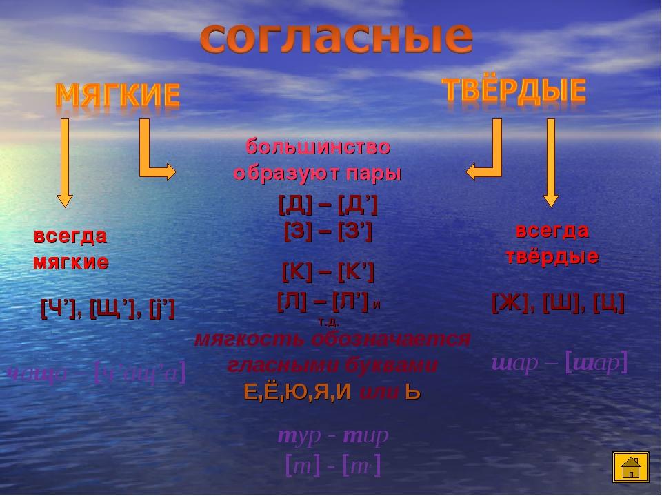 большинство образуют пары всегда мягкие всегда твёрдые [Д] – [Д'] [З] – [З'] [К] – [К'] [Л] – [Л'] и т.д. [Ч'], [Щ'], [j'] [Ж], [Ш], [Ц] мягкость о...