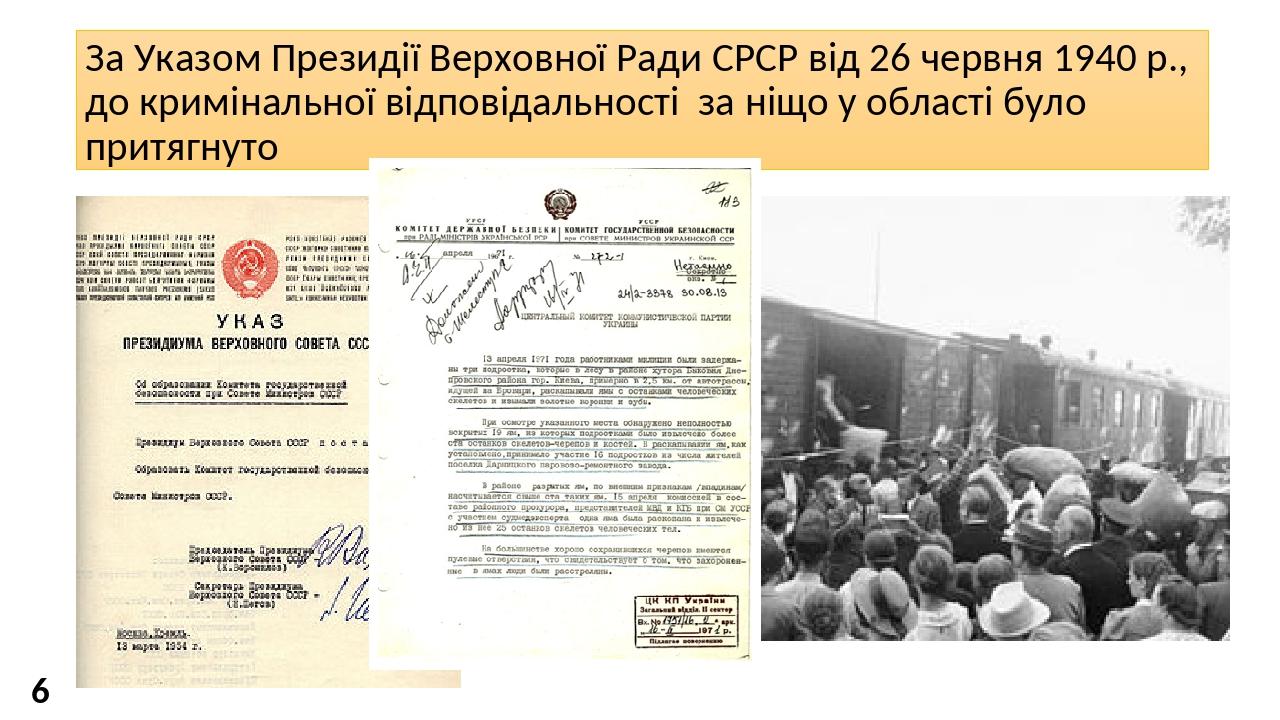 За Указом Президії Верховної Ради СРСР від 26 червня 1940 р., до кримінальної відповідальності за ніщо у області було притягнуто 1 363 особи 6