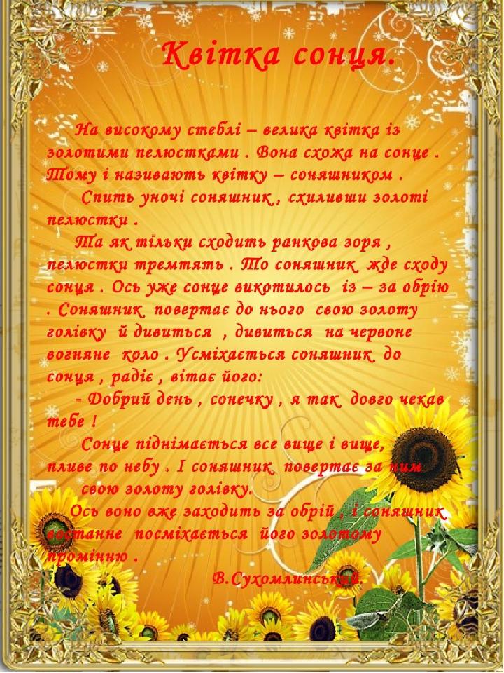 Василь Сухоминський Квітка сонця На високому стеблі – велика квітка з золотими пелюстками. Вона схожа на сонце. Тому й називають квітку соняшником....
