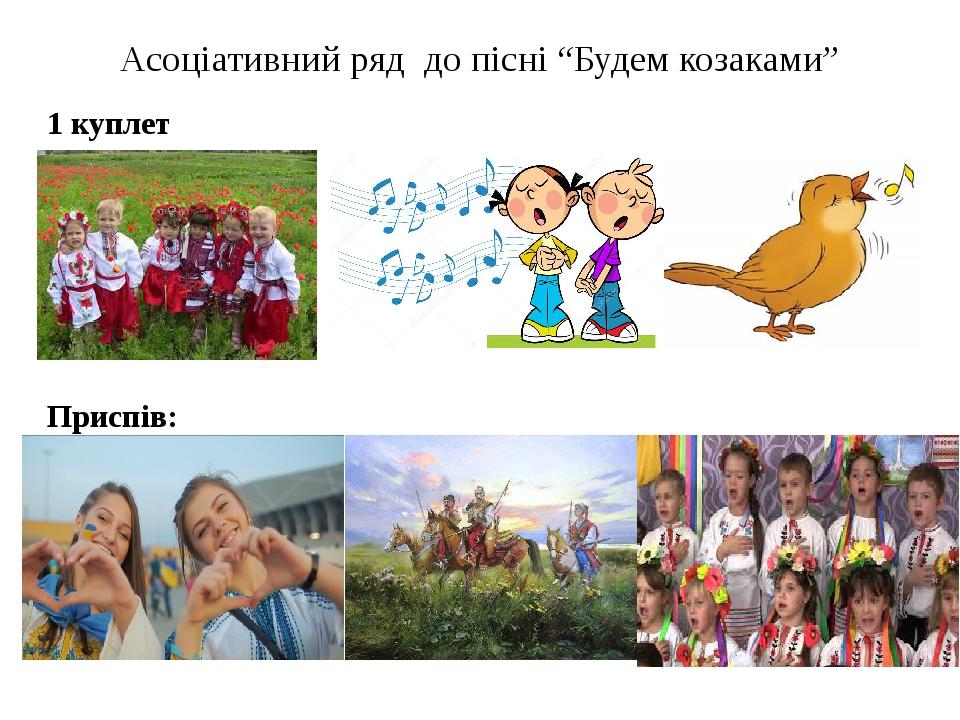 """Асоціативний ряд до пісні """"Будем козаками"""" 1 куплет Приспів:"""