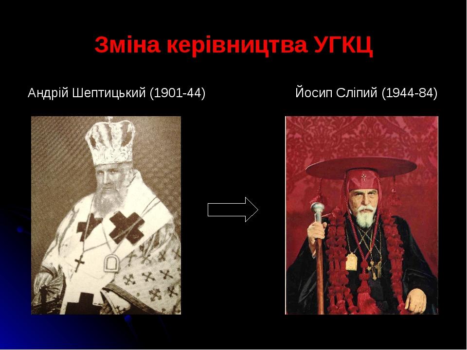 Зміна керівництва УГКЦ Андрій Шептицький (1901-44) Йосип Сліпий (1944-84)