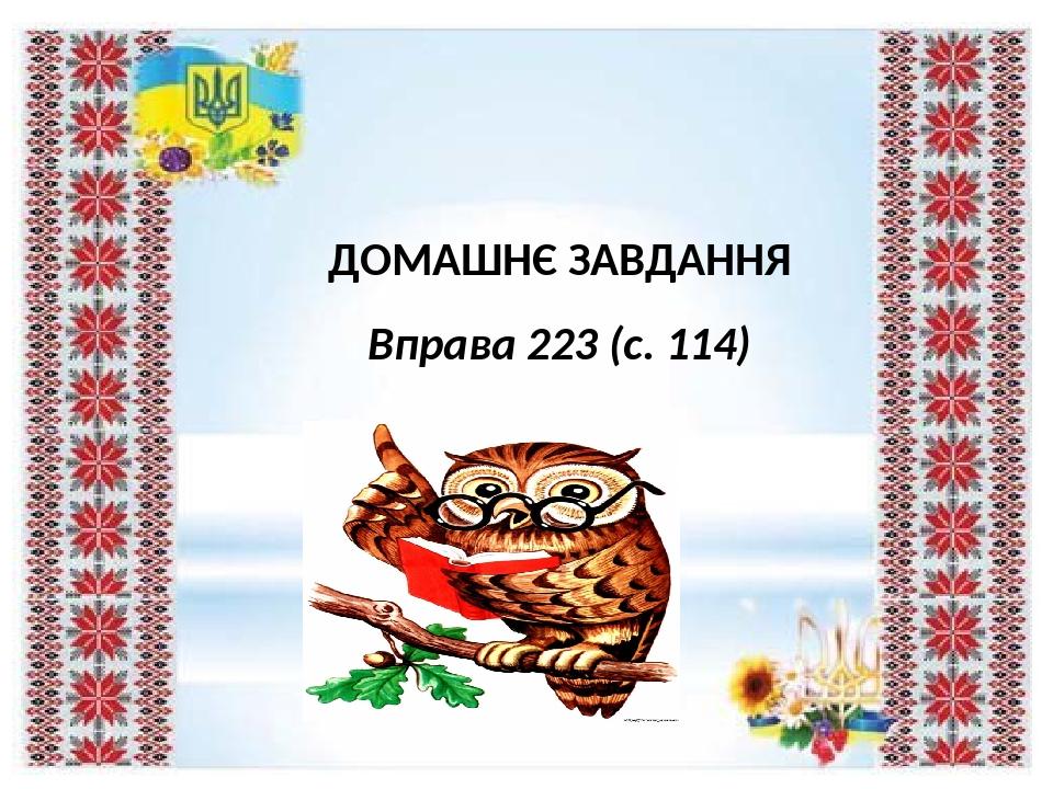 ДОМАШНЄ ЗАВДАННЯ Вправа 223 (с. 114)