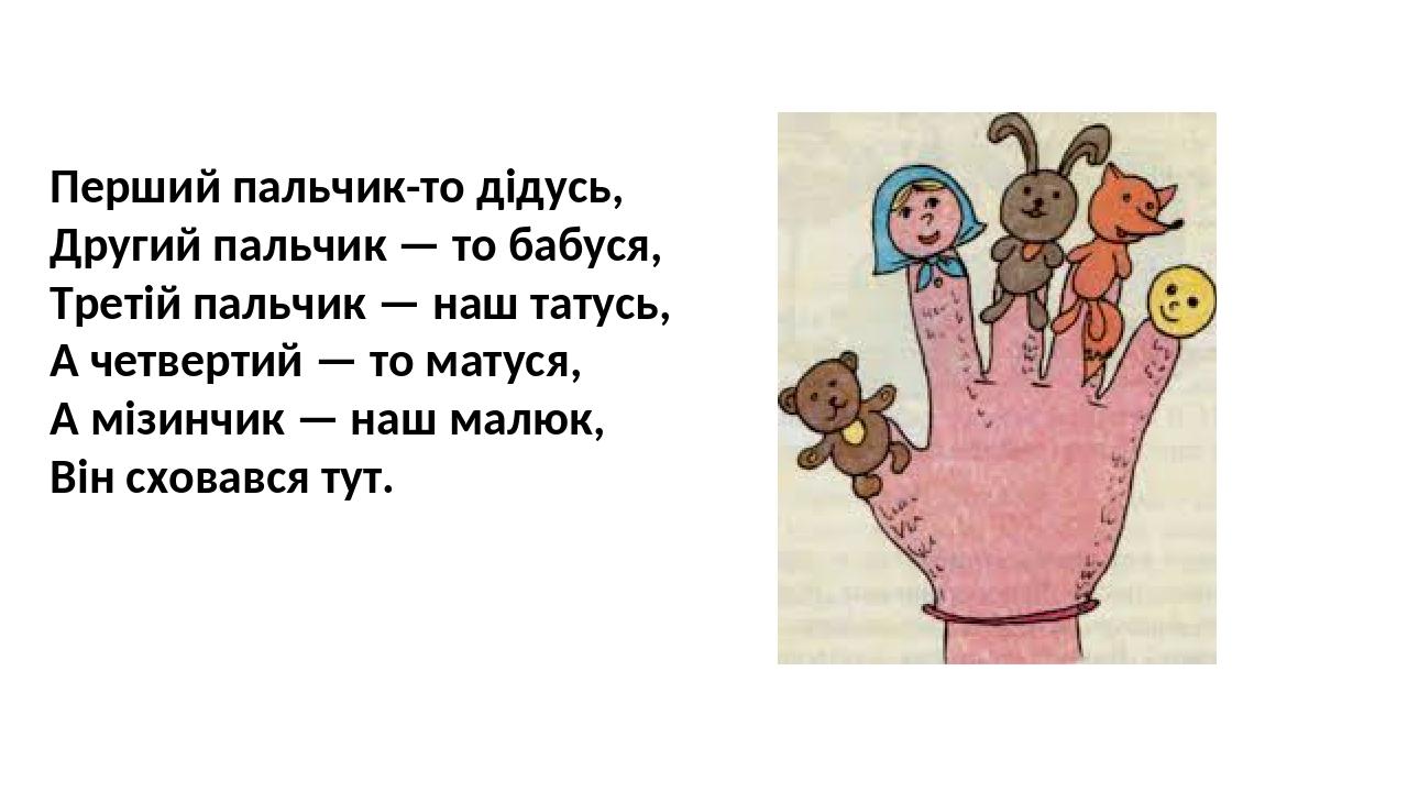 Перший пальчик-то дідусь, Другий пальчик — то бабуся, Третій пальчик — наш татусь, А четвертий — то матуся, А мізинчик — наш малюк, Biн сховався тут.