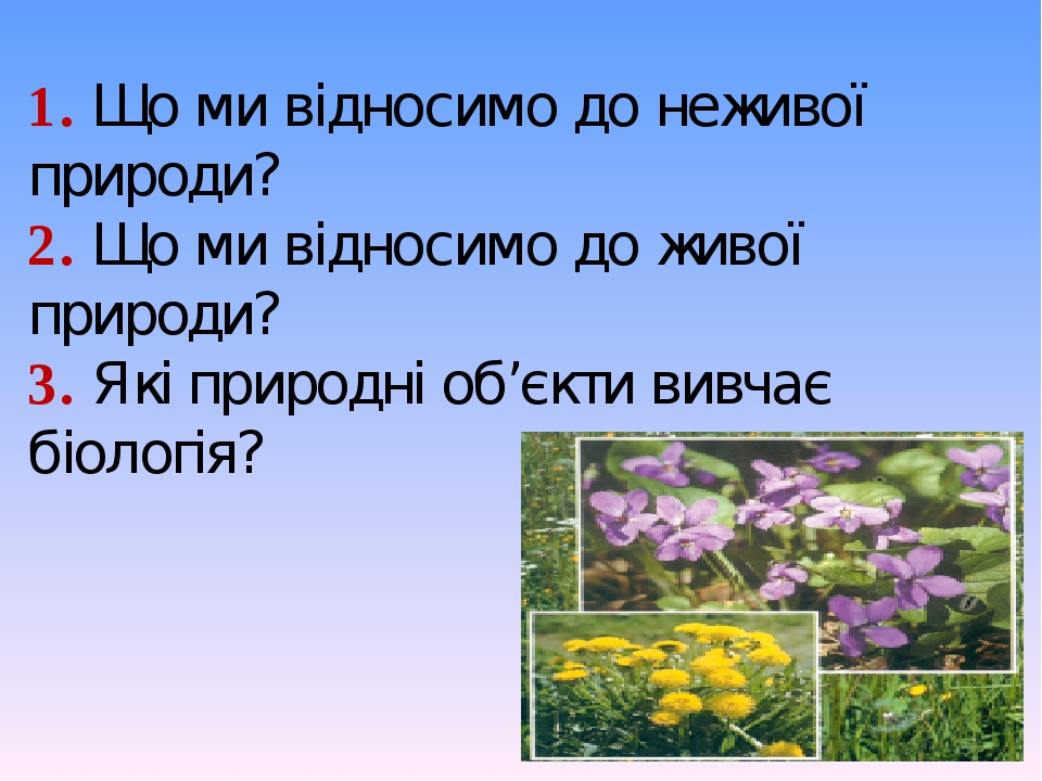 1. Що ми відносимо до неживої природи? 2. Що ми відносимо до живої природи? 3. Які природні об'єкти вивчає біологія?