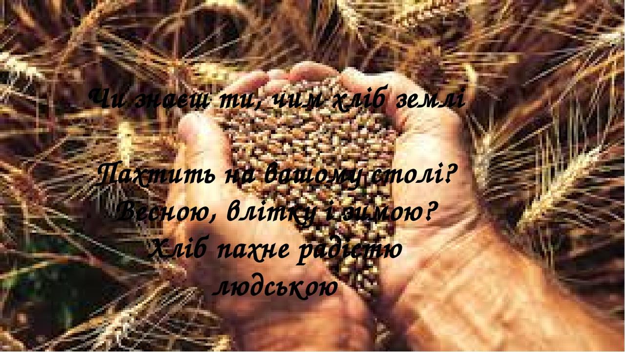 Чи знаєш ти, чим хліб землі Пахтить на вашому столі? Весною, влітку і зимою? Хліб пахне радістю людською