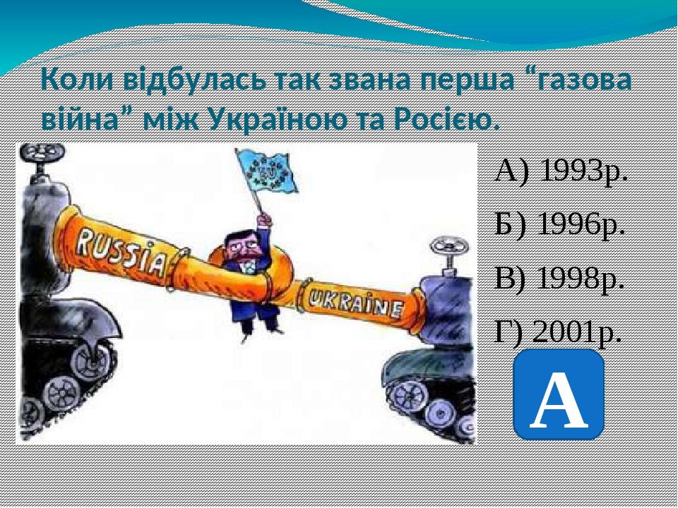 """Коли відбулась так звана перша """"газова війна"""" між Україною та Росією. А) 1993р. Б) 1996р. В) 1998р. Г) 2001р. А"""