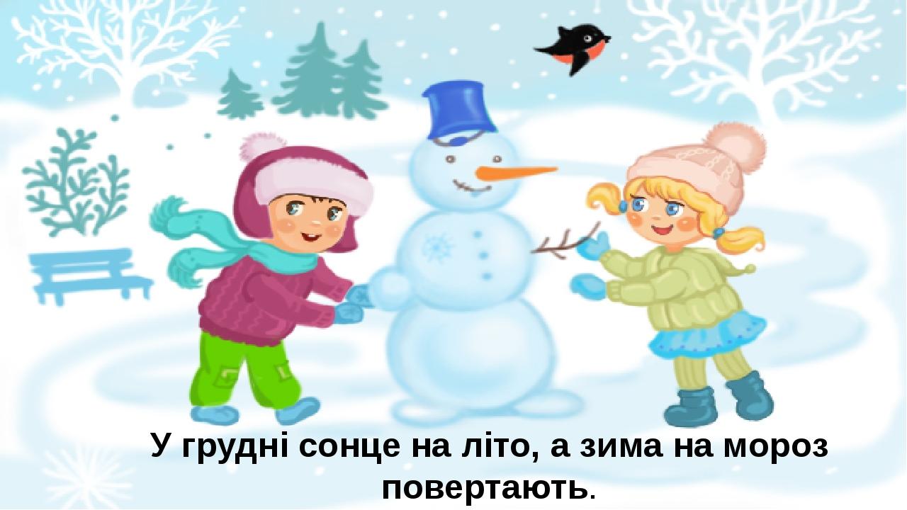 У грудні сонце на літо, а зима на мороз повертають.