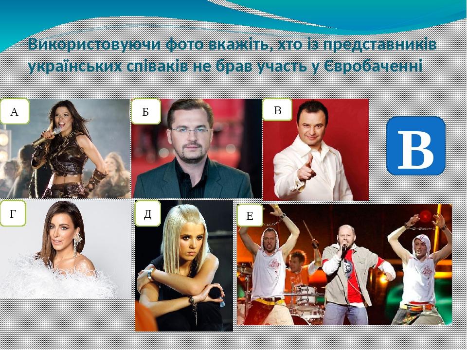 Використовуючи фото вкажіть, хто із представників українських співаків не брав участь у Євробаченні А Б В Г Д Е В