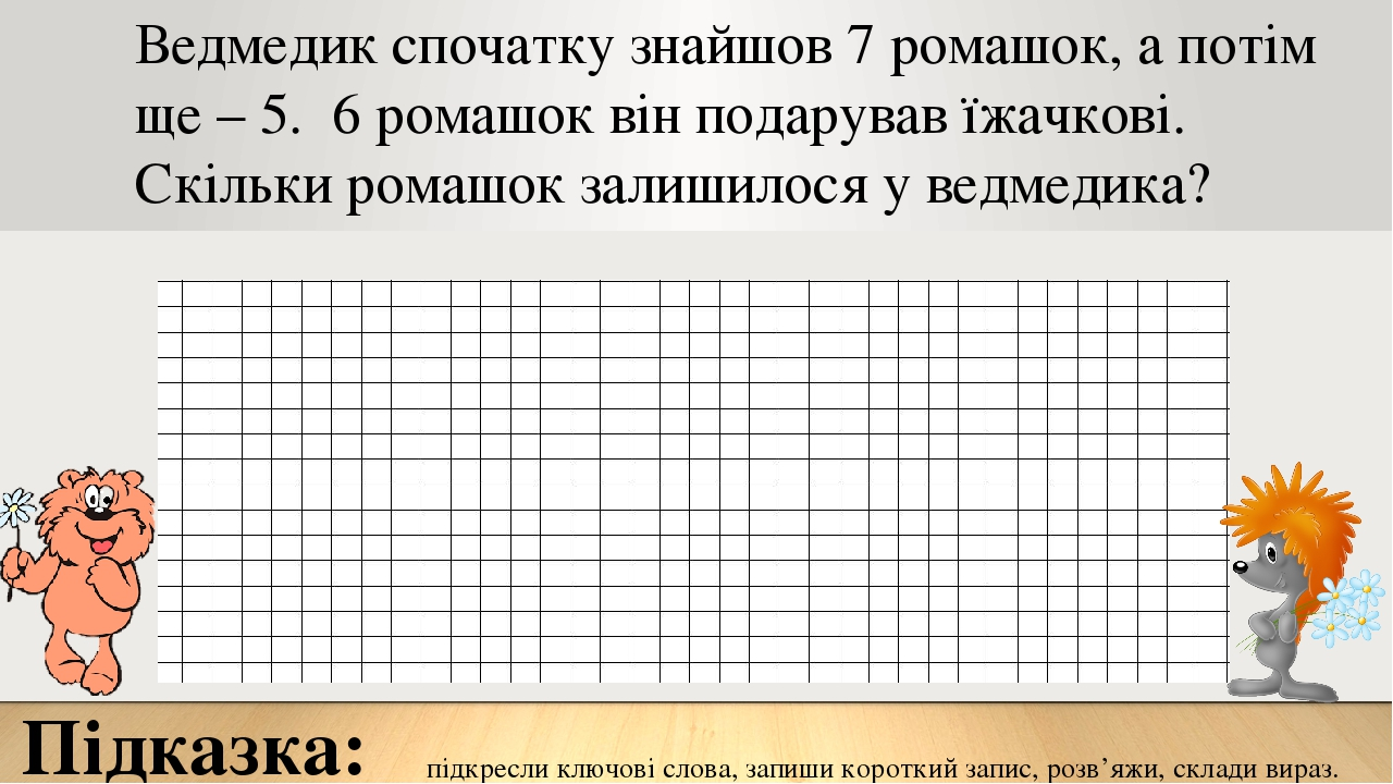 Підказка: підкресли ключові слова, запиши короткий запис, розв'яжи, склади вираз. Ведмедик спочатку знайшов 7 ромашок, а потім ще – 5. 6 ромашок ві...