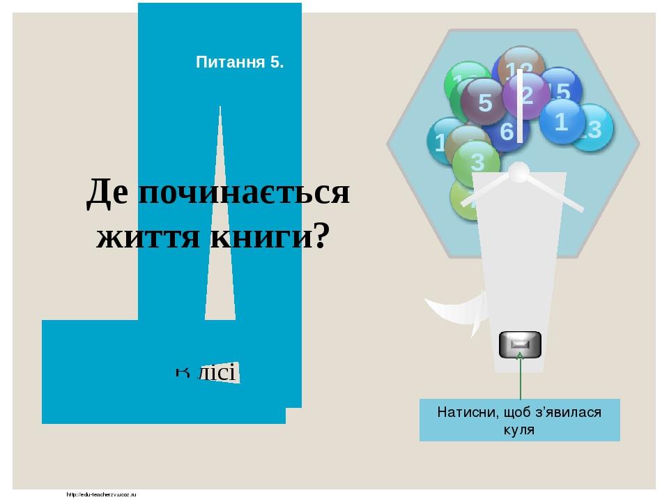 http://edu-teacherzv.ucoz.ru В лісі Де починається життя книги? Відповідь Натисни, щоб з'явилася куля Питання 5. 10 5 11 12 13 14 15 9 8 7 6 5 4 3 2 1