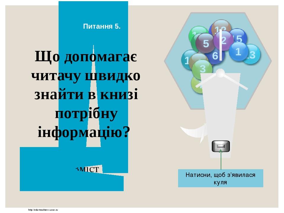 http://edu-teacherzv.ucoz.ru Зміст Що допомагає читачу швидко знайти в книзі потрібну інформацію? Відповідь Натисни, щоб з'явилася куля Питання 5. ...