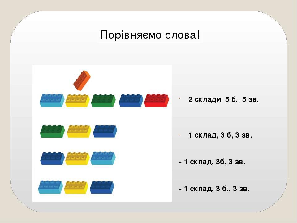 Порівняємо слова! 2 склади, 5 б., 5 зв. 1 склад, 3 б, 3 зв. - 1 склад, 3б, 3 зв. - 1 склад, 3 б., 3 зв.