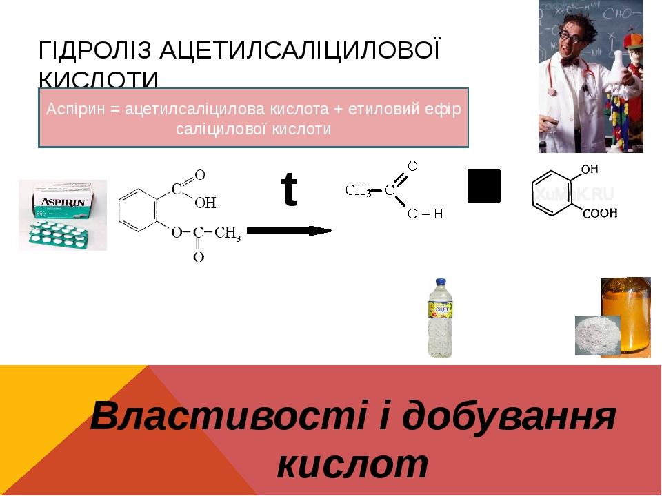 ГІДРОЛІЗ АЦЕТИЛСАЛІЦИЛОВОЇ КИСЛОТИ Властивості і добування кислот t Характерний запах! Утворюється осад Аспірин = ацетилсаліцилова кислота + етилов...
