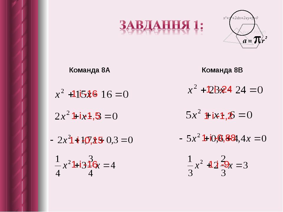 Команда 8А Команда 8В 1 і -16 1 і -1,5 1 і -0,15 1 і -16 1 і -24 1 і -1,2 1 і -0,88 1 і -9