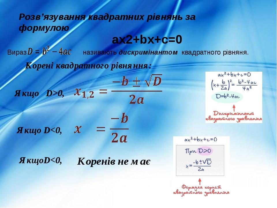 Корені квадратного рівняння: ax2+bx+c=0 Якщо D>0, Якщо D<0, ЯкщоD<0, Коренів не має Розв'язування квадратних рівнянь за формулою Вираз називають ди...