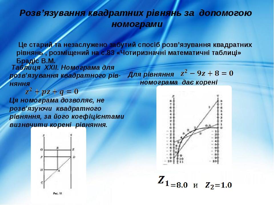 Розв'язування квадратних рівнянь за допомогою номограми Це старий та незаслужено забутий спосіб розв'язування квадратних рівнянь , розміщений на с....