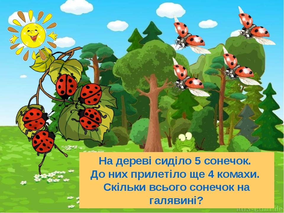 На дереві сиділо 5 сонечок. До них прилетіло ще 4 комахи. Скільки всього сонечок на галявині?