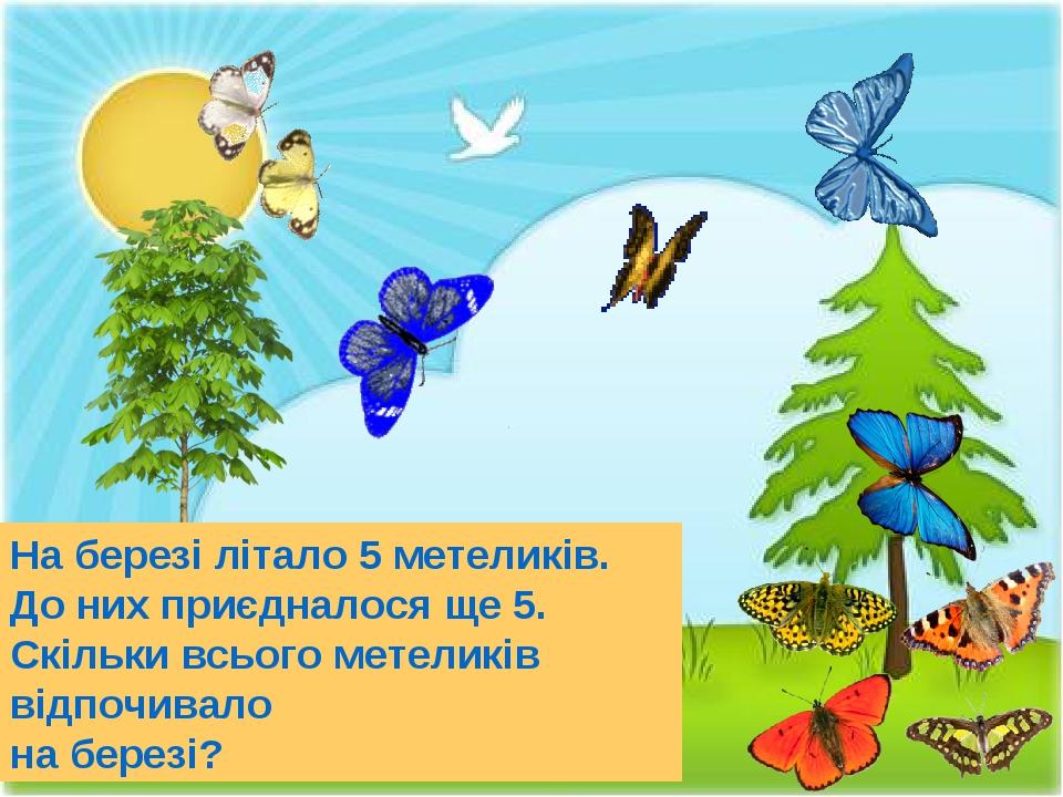 На березі літало 5 метеликів. До них приєдналося ще 5. Скільки всього метеликів відпочивало на березі?