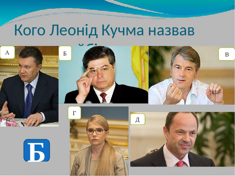 Кого Леонід Кучма назвав своєю найбільшою помилкою? А Б В Г Д Б