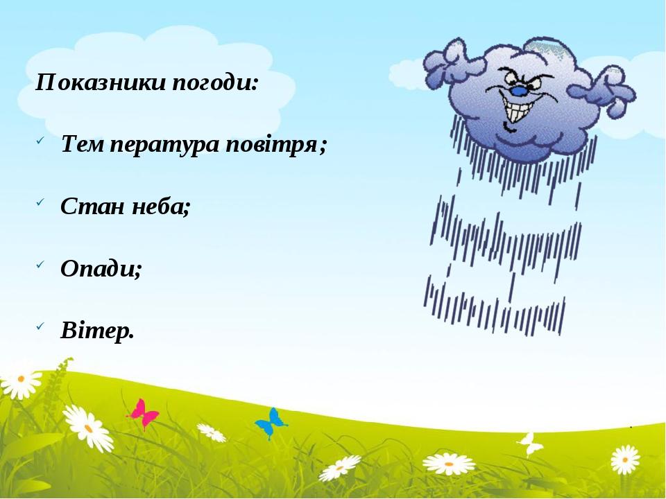 Показники погоди: Температура повітря; Стан неба; Опади; Вітер.