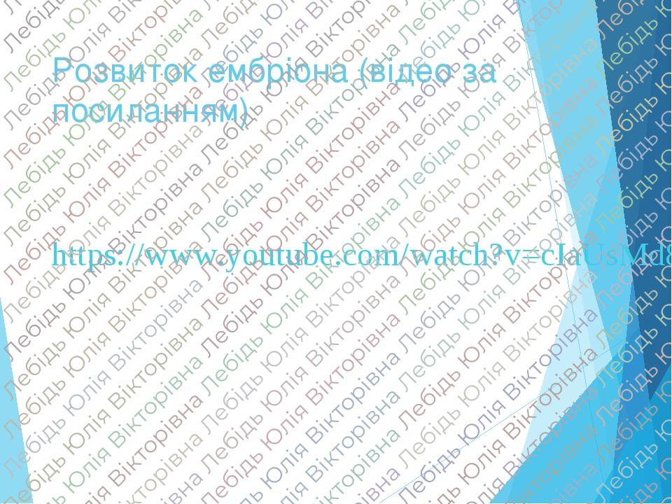 Розвиток ембріона (відео за посиланням) https://www.youtube.com/watch?v=cIaUsMd8_LY