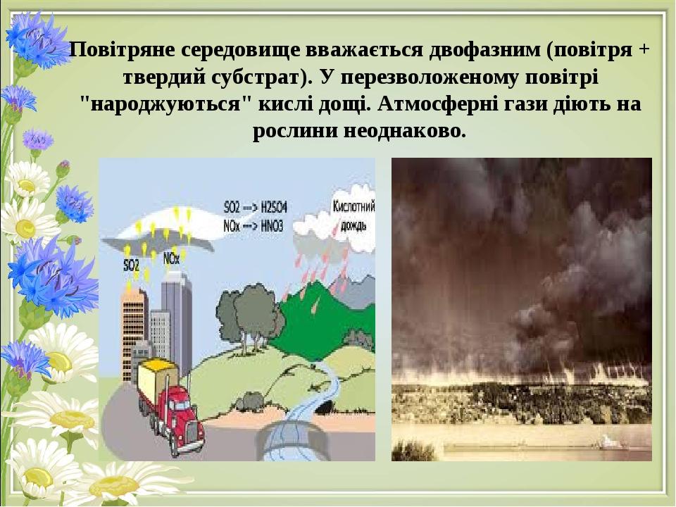 """Повітряне середовище вважається двофазним (повітря + твердий субстрат). У перезволоженому повітрі """"народжуються"""" кислі дощі. Атмосферні гази діють ..."""