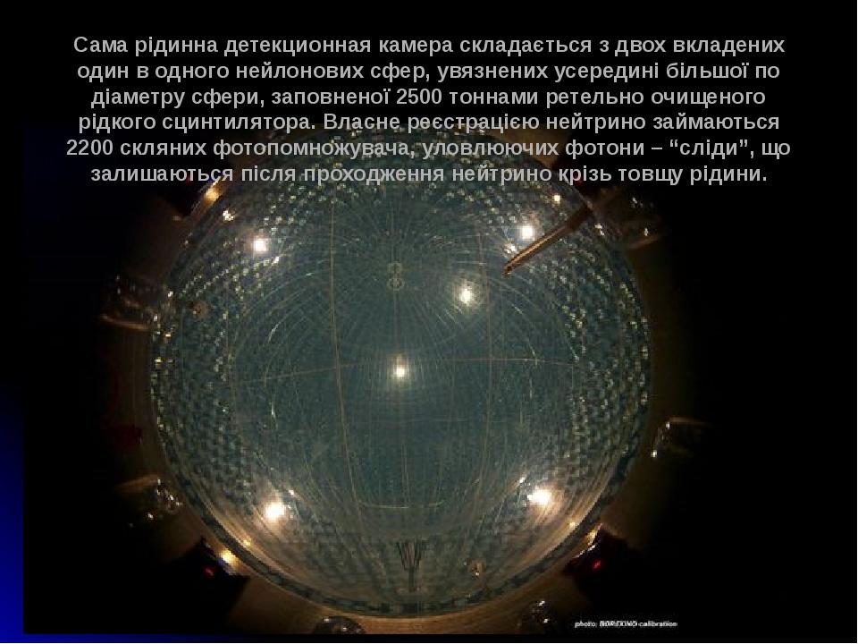 Сама рідинна детекционная камера складається з двох вкладених один в одного нейлонових сфер, увязнених усередині більшої по діаметру сфери, заповне...
