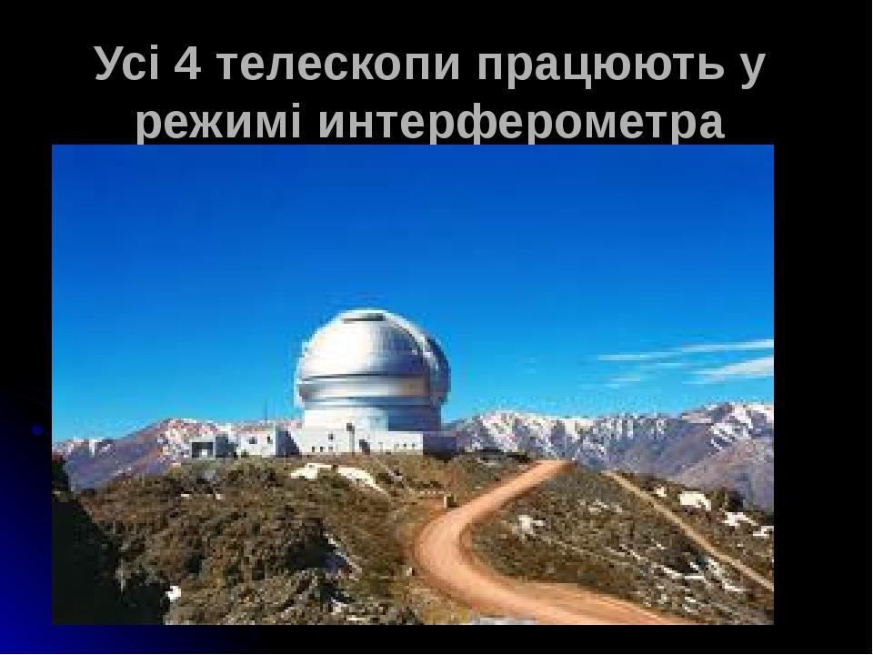 Усі 4 телескопи працюють у режимі интерферометра