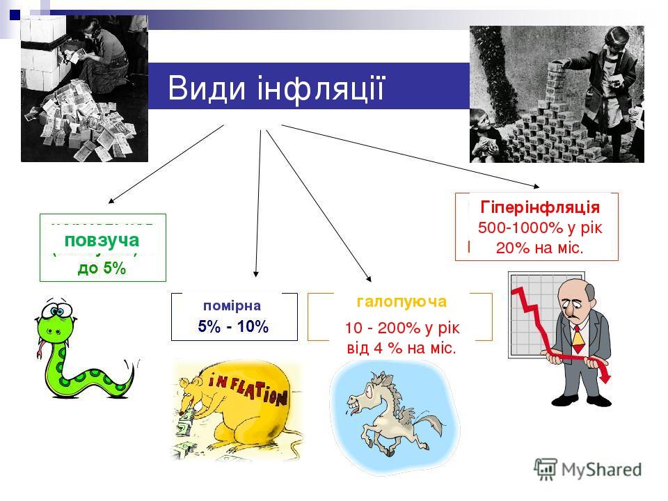 Види інфляції помірна повзуча галопуюча Гіперінфляція 500-1000% у рік 20% на міс. 10 - 200% у рік від 4 % на міс.